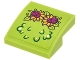 Part No: 15068pb071  Name: Slope, Curved 2 x 2 No Studs with Magenta and Bright Light Orange Flowers and Lime Leaves Pattern (Sticker) - Set 41175