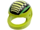 Part No: 2446pb08  Name: Minifigure, Headgear Helmet Standard with Green Stripes, Black Bars, and White Checks Pattern