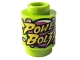 Part No: 3062bpb046  Name: Brick, Round 1 x 1 Open Stud with Bright Light Yellow 'POWER BOLT' and Magenta Bubbles Pattern