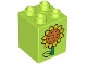 Part No: 31110pb126  Name: Duplo, Brick 2 x 2 x 2 with Stem, Leaf and Orange and Yellow Sunflower on Both Sides Pattern (10819)