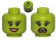 Part No: 3626bpb0784  Name: Minifigure, Head Dual Sided Alien Female Black Arched Eyebrows, Eyelashes, Red Lips, Smile / Scared Pattern (SW Oola) - Blocked Open Stud