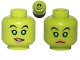 Part No: 3626bpb1138  Name: Minifig, Head Dual Sided Alien Female with Swashbuckling Smile, Green Eyes, Pink Lipstick / Frown Pattern (SW Hera Syndulla)