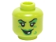 Part No: 3626cpb1413  Name: Minifigure, Head Female Green Lips, Eye Shadow, Wart and Wrinkles, Smile with One White Tooth Pattern - Hollow Stud
