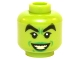 Part No: 3626cpb1434  Name: Minifigure, Head Female, Black Thick Eyebrows, Green Lips and Open Smile with Bright Light Yellow Teeth Pattern (Wicked Witch) - Hollow Stud