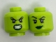 Part No: 3626cpb1801  Name: Minifigure, Head Dual Sided Alien Female Dark Green Lips, Teeth Bared Angry / Malicious Smile Pattern - Hollow Stud
