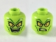 Part No: 3626cpb2402  Name: Minifigure, Head Dual Sided Alien Dark Green Eyebrows and Cheek Lines, Large Yellow Eyes, Smile / Confused Pattern - Hollow Stud