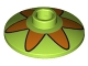 Part No: 4740pb012  Name: Dish 2 x 2 Inverted (Radar) with Orange Flower 6 Petals Pattern (Mystery Machine Hubcap)