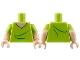 Part No: 973pb2054c01  Name: Torso V-Neck T-Shirt with Light Flesh Skin Pattern (Shaggy) / Light Flesh Arms with Lime Short Sleeves Pattern / Light Flesh Hands