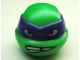 Part No: 12607pb08  Name: Minifigure, Head Modified Ninja Turtle with Dark Purple Mask and Missing Tooth Scowl Pattern (Donatello)