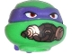 Part No: 12607pb13  Name: Minifig, Head Modified Ninja Turtle with Dark Purple Mask and Breathing Apparatus Pattern (Donatello)
