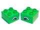 Part No: 3437pb010  Name: Duplo, Brick 2 x 2 with Eye, Alligator Slanted Pattern, on Two Sides