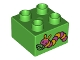 Part No: 3437pb059  Name: Duplo, Brick 2 x 2 with Caterpillar Pattern