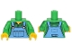Part No: 973pb2228c01  Name: Torso Medium Blue Overalls over Plaid Shirt with Buttons and Collar Pattern / Bright Green Arms with Green Plaid Pattern / Yellow Hands