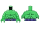 Part No: 973pb2291c01  Name: Torso Muscles Outline, Dark Purple Belt and Silver 'H' Buckle Pattern / Bright Green Arms / Bright Green Hands