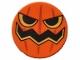 Part No: 14769pb077  Name: Tile, Round 2 x 2 with Bottom Stud Holder with Pumpkin Jack O' Lantern Pattern