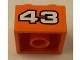 Part No: 3003pb086  Name: Brick 2 x 2 with White '43' with Black Outline on Orange Background Pattern (Sticker) - Set 8162