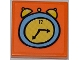 Part No: 3068bpb0510  Name: Tile 2 x 2 with Groove with Medium Blue and Yellow Alarm Clock Pattern (Sticker) - Set 3818