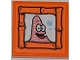 Part No: 3068bpb0512  Name: Tile 2 x 2 with Groove with Patrick Making Bubbles Portrait Pattern (Sticker) - Set 3818