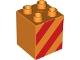 Part No: 31110pb072  Name: Duplo, Brick 2 x 2 x 2 with Red Diagonal Stripes Pattern