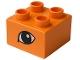 Part No: 3437pb008  Name: Duplo, Brick 2 x 2 with Eye, Lion's Pattern