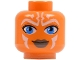 Part No: 3626bpb0318  Name: Minifigure, Head Alien with Blue Eyes and White Lines Pattern (SW Ahsoka) - Blocked Open Stud