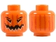 Part No: 3626bpb0388  Name: Minifig, Head Pumpkin Jack O' Lantern with Vertical Lines on Back Pattern - Blocked Open Stud
