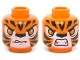Part No: 3626cpb1142  Name: Minifig, Head Dual Sided Alien Chima Tiger with Orange Eyes, Fangs and Black Stripes, Neutral / Angry Pattern (Tormak) - Stud Recessed