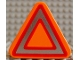 Part No: 42025pb01  Name: Duplo, Brick 1 x 3 x 2 Triangle Road Sign with Silver and Red Triangle Pattern