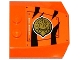 Part No: 45677pb086L  Name: Wedge 4 x 4 x 2/3 Triple Curved with Hatch, Black Stripes and Gold Chima Eagle Emblem Pattern Model Left Side (Sticker) - Set 70224