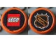 Part No: 47576pb01  Name: Wheel Hockey Puck, Small with Lego Logo and NHL Logo Pattern (Stickers) - Set 3579