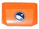 Part No: 52031pb079  Name: Wedge 4 x 6 x 2/3 Triple Curved with Arctic Explorer Logo on Orange Background Pattern (Sticker)