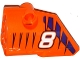 Part No: 87080pb031  Name: Technic, Panel Fairing # 1 Small Smooth Short, Side A with White Number '8' and Dark Purple Tiger Stripes Pattern (Sticker) - Set 42048