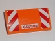 Part No: 88930pb065  Name: Slope, Curved 2 x 4 x 2/3 No Studs with Bottom Tubes with Red 'CAUTION' and Red and White Danger Stripes Pattern (Sticker) - Set 60118