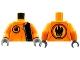 Part No: 973pb0486c01  Name: Torso Agents Villain with Zipper & Villain Logo on Back Pattern / Orange Arms / Dark Bluish Gray Hands