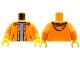 Part No: 973pb0906c01  Name: Torso Jacket with Hood over Light Blue Sweater Pattern / Orange Arms / Yellow Hands