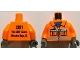 Part No: 973pb1084c01  Name: Torso Construction Vest with Pockets and Blue Shirt Front, 2011 The LEGO Store Mission Viejo, CA Back Pattern / Orange Arms / Dark Bluish Gray Hands