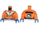 Part No: 973pb1703c01  Name: Torso Arctic Explorer Logo Female with Zipper and White Fur Trim Pattern / Orange Arms / Blue Hands