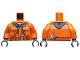 Part No: 973pb1895c01  Name: Torso Construction Jacket over Dark Gray Hooded Sweatshirt, Zipper Pockets, Brown Belt Pattern / Orange Arms / Dark Bluish Gray Hands