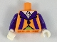 Part No: 973pb3071c01  Name: Torso Jacket with White Collar, Dark Purple Lapels and Stripes, Lime Cummerbund Pattern / Dark Purple Arms / White Hands