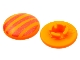 Part No: clikits028pb02  Name: Clikits Icon, Round 2 x 2 Small Thin with Pin, Reddish Orange Stripes Pattern