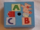 Part No: 33031pb03  Name: Container, Box 3.5 x 3.5 x 1.3 with Hinged Lid with ABC and Teddy Bear Pattern (Sticker) - Set 3290