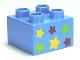 Part No: 3437pb043  Name: Duplo, Brick 2 x 2 with 6 Stars Pattern