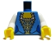 Part No: 973pb0632c01  Name: Torso Pirate Female Corset with Gold and Blue Pattern / White Arms / Yellow Hands