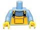 Part No: 973pb0803c01  Name: Torso Overalls Bright Orange over Sweater Pattern / Medium Blue Arms / Yellow Hands