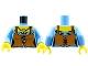 Part No: 973pb0915c01  Name: Torso Castle Kingdoms Female Corset with Brown Apron Pattern / Medium Blue Arms / Yellow Hands