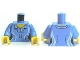 Part No: 973pb0984c01  Name: Torso Female Shirt with Two Buttons and Shell Pendant Pattern / Medium Blue Arms / Yellow Hands