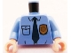 Part No: 973pb1008c01  Name: Torso Police Shirt with Gold Badge, Dark Blue Tie and Wrinkles Pattern / Medium Blue Arms / Light Flesh Hands