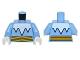 Part No: 973pb2295c01  Name: Torso White Icicles Collar and Bright Light Orange Belt Pattern (Captain Cold) / Medium Blue Arms / White Hands