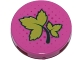 Part No: 14769pb178  Name: Tile, Round 2 x 2 with Bottom Stud Holder with Ivy Leaves and Dark Pink Dots Pattern