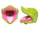 Part No: 20611pb01  Name: Minifigure, Headgear Plant Venus Fly Trap with Lime Leaves and Bright Pink Tongue Pattern